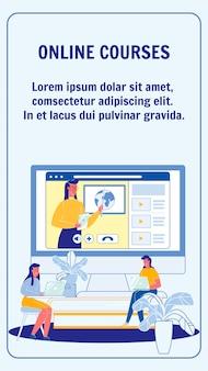 Online-kurse, vektor-flyer-layout für universitäten