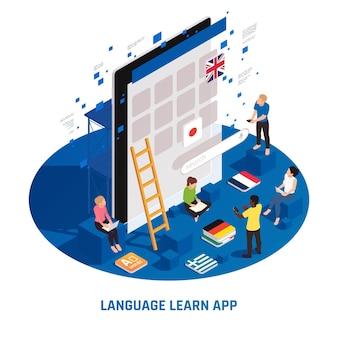 Online-kurse zum fremdsprachenlernen isometrische kreisförmige komposition mit deutsch-englisch-französisch-japanischen klassen-apps