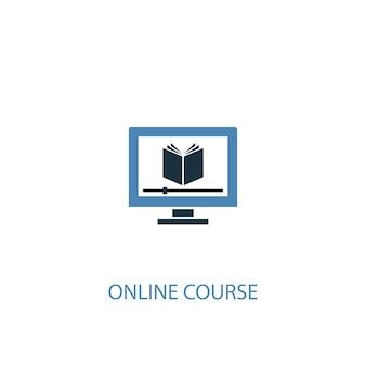 Online-kurskonzept 2 farbiges symbol. einfache blaue elementillustration. online-kurskonzept symboldesign. kann für web- und mobile ui/ux verwendet werden