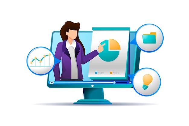Online-kurslehrer mit infografiken