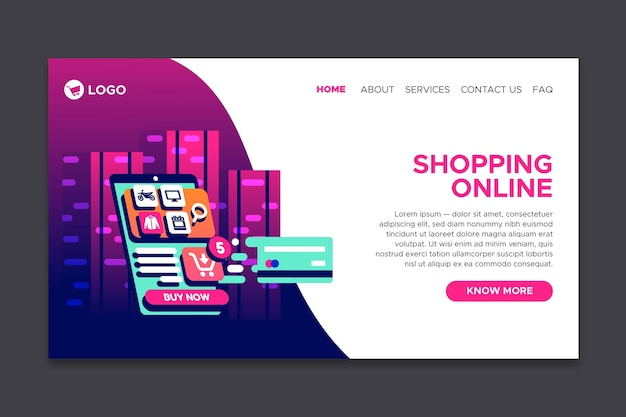 Online-landingpage für futuristische vorlageneinkäufe