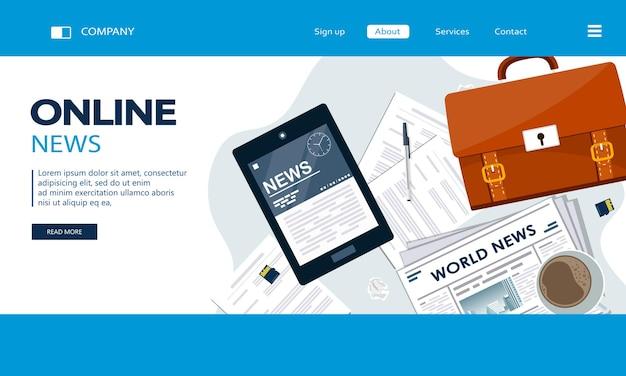 Online-landingpage für nachrichten