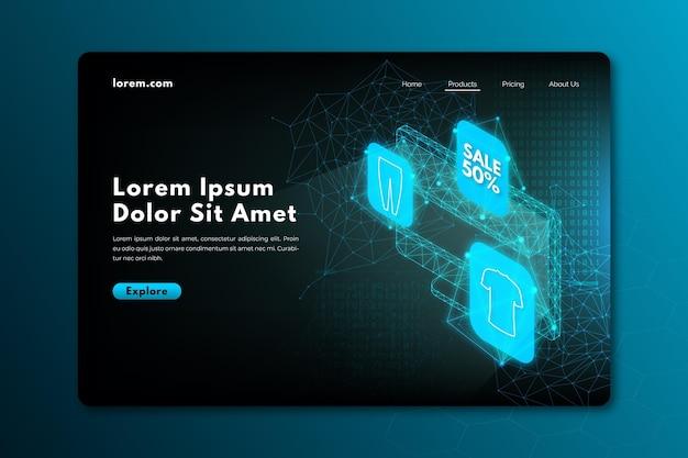 Online-landingpage für technologisches einkaufen