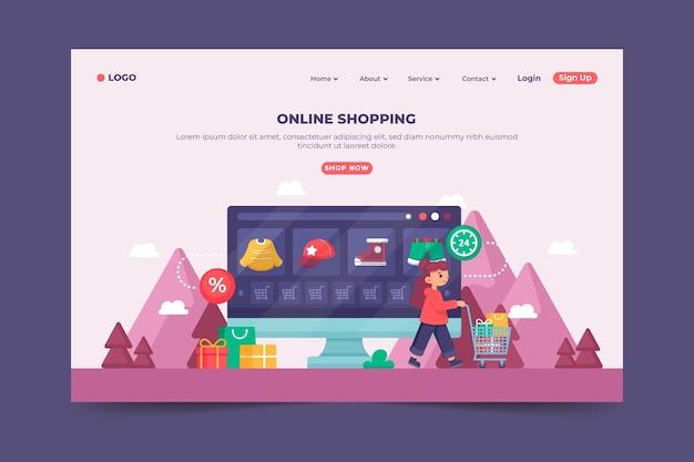 Online-landingpage im flachen design einkaufen