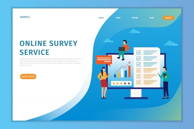 Online-landingpage-umfrage des vektorillustrationskonzeptes