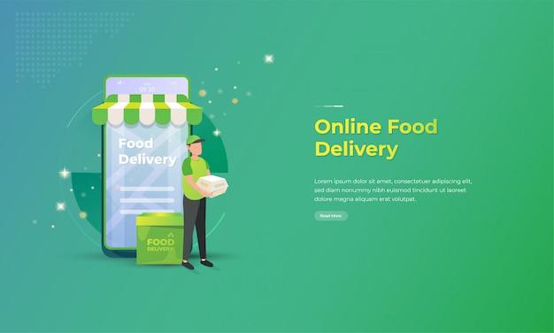 Online-lebensmittel-lieferservice-illustration mit mobilem anwendungskonzept