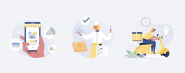 Online-lebensmittelbestellung online-lieferservice für die auswahl von speisen nach hause. vektor-illustration