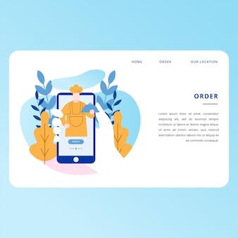 Online-lebensmittelbestellungs-landing page website vector design