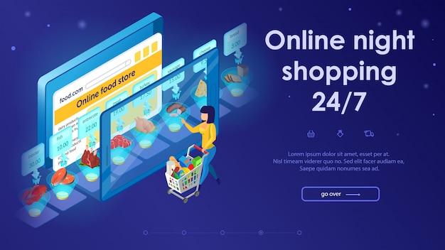 Online-lebensmitteleinkaufskonzept