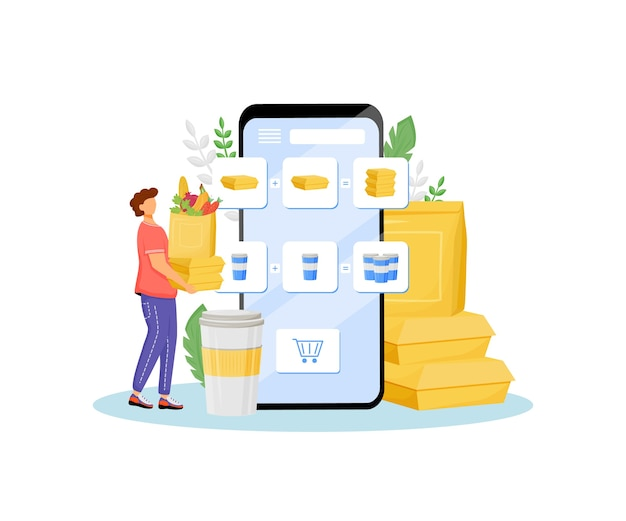 Online-lebensmittelhändler sonderangebot flache konzeptillustration produkte käufer kunde mit grüns und fast food d zeichentrickfigur für webdesign lebensmittelbestellung kostenloses mittagessen kreative idee