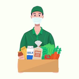 Online-lebensmittelkonzept. lieferbote mit schutzmaske, die lebensmittel liefert.