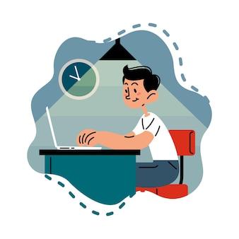 Online-lernen digitales unterrichtskonzept flache vektorillustration