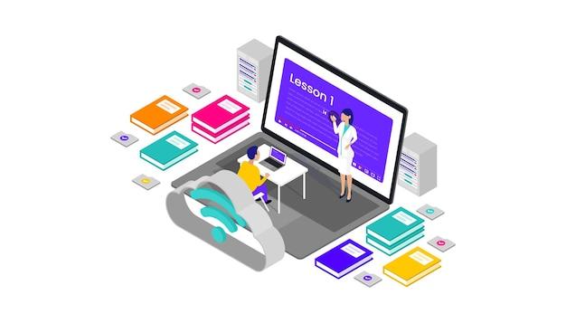 Online-lernen isometrische 3d-vektor-illustration desktop-web-benutzeroberfläche, geeignet für web-banner, diagramme, infografiken, buchillustrationen, spiel-assets und andere grafische assets
