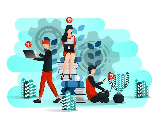 Online lernen mit internet und gesicht von bildung 4.0