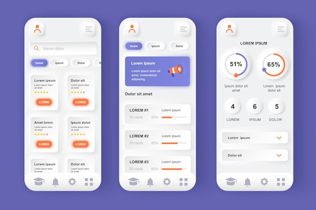 Online-lernen moderne neumorphic design ui mobile app