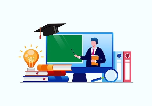 Online-lernen oder e-learning-flache vektorgrafik für banner