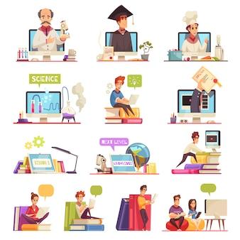 Online-lernen video-training unterstützen offizielle college-universitätskurse qualifikation diplom 13 cartoon-kompositionen gesetzt