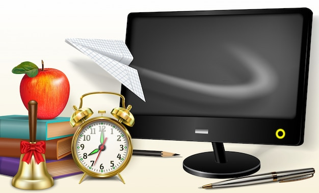 Online-lernen - zurück in die schule. heimlernen, computer, fliegendes papierflugzeug schreibwaren, wecker, apfel, bücher, schulglocke.