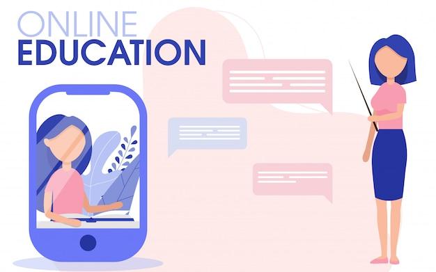 Online lernender schüler mit lehrer. student im lernprozess. online-lernen mit internet-wohnung. online-bildungskonzept.