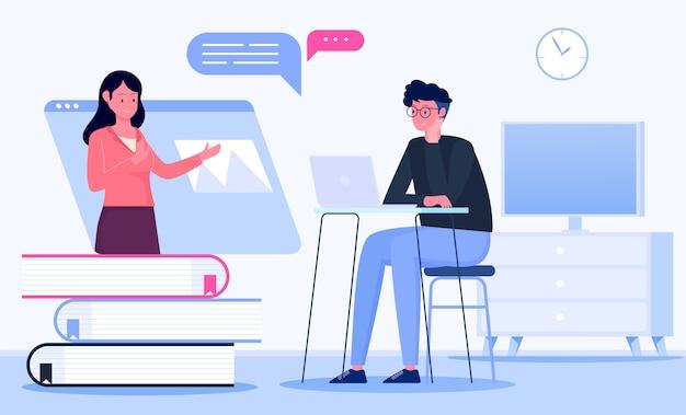 Online-lernillustrationskonzept