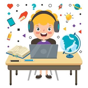 Online-lernkonzept mit zeichentrickfigur