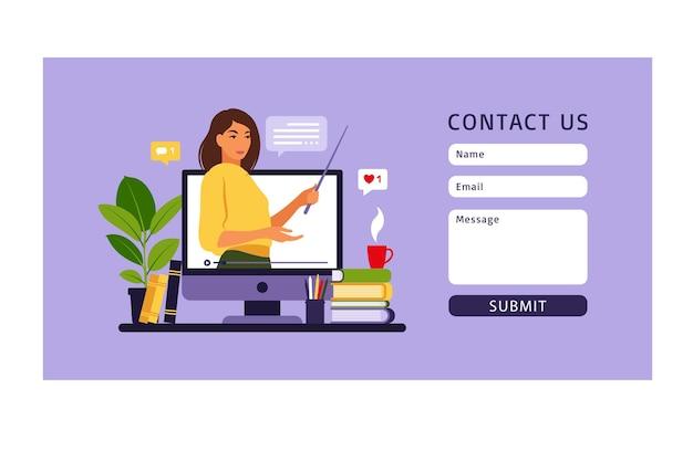 Online-lernkonzept. online-bildung kontaktieren sie uns. lehrer an der tafel, videolektion. fernstudium in der schule.