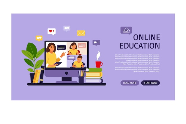Online-lernkonzept. online-zielseite für klassen. fernstudium in der schule. illustration flacher stil.