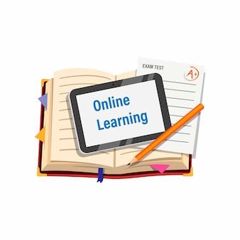 Online-lernkurs für studenten mit buchregisterkarte und prüfungspapiersymbol in der karikaturillustration lokalisiert auf weißem hintergrund