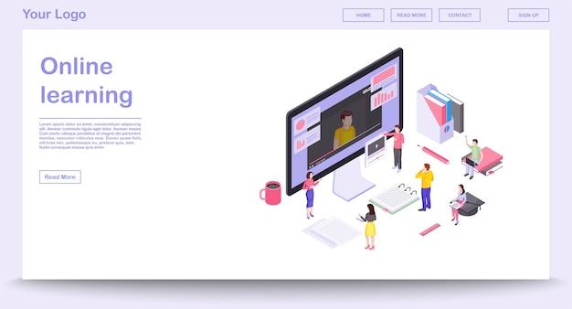 Online-lernwebseitenvorlage mit isometrischer illustration. design der website-oberfläche. e-learning. online-kurse, bildung. videoanleitungen. 3d-konzept des interaktiven trainings. isolierte cliparts