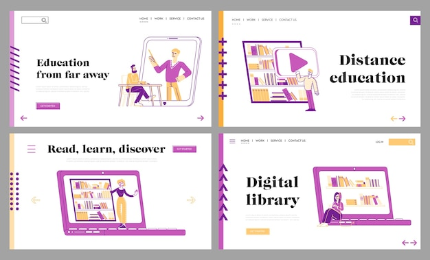 Online library landing page template set