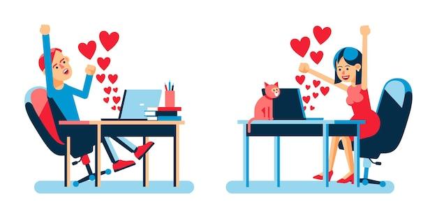 Online-liebhaber mit herzzeichen im laptop