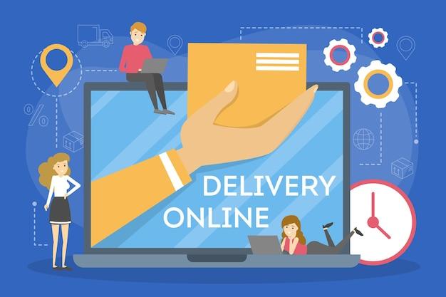 Online-lieferkonzept festgelegt. bestellen sie im internet. in den warenkorb legen, mit karte bezahlen und auf kurier warten. illustration