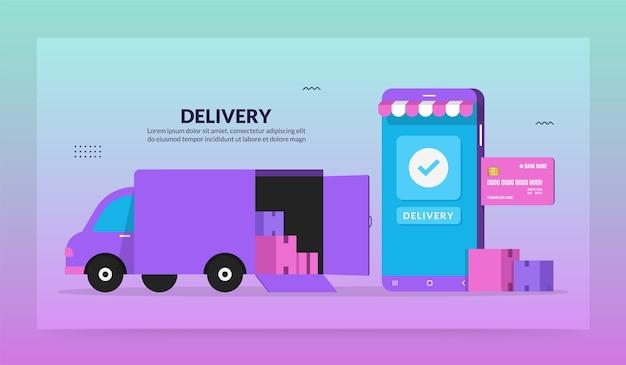 Online-lieferservice-anwendung, digitales logistikkonzept mit schnellstem lkw