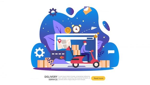 Online-lieferservice. express-tracking-konzept mit kleinem charakter und cargo-box-truck bestellen.