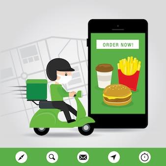 Online-lieferservice-konzept cartoon-illustration. mann, der ein roller-motorrad reitet. infografik zur online-bestellung von lebensmitteln. covid19. quarantäne in der stadt.