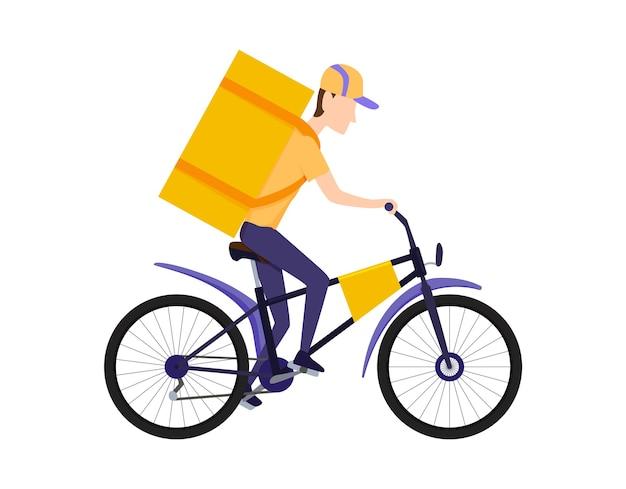 Online-lieferservice-konzept. lieferung nach hause oder ins büro. online-bestellung und expresskonzept für lebensmittel oder produkte. bleib zu hause konzept. schnelle und kostenlose lieferung. fahrrad.