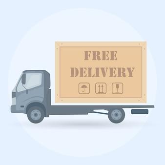 Online-lieferservice-konzept. lkw auf hintergrund. ð¡ourier liefert die bestellung per van. schneller versand von lebensmitteln per auto.