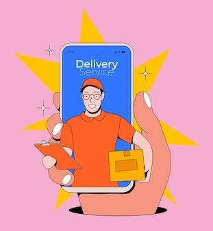 Online-lieferservice-konzept mit hand, die smartphone mit kurier oder lieferbote hält, kommt aus dem bildschirm