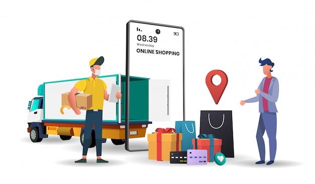 Online-lieferservice-konzept mit lkw-lieferung, online-auftragsverfolgung, lieferung nach hause und büro.