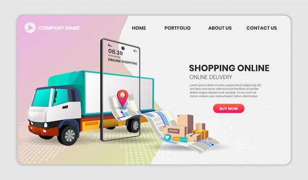 Online-lieferservice-konzept mit telefonzustellung, online-auftragsverfolgung, lieferung nach hause und ins büro. 3d-illustration, heldenbild für website und zielseite
