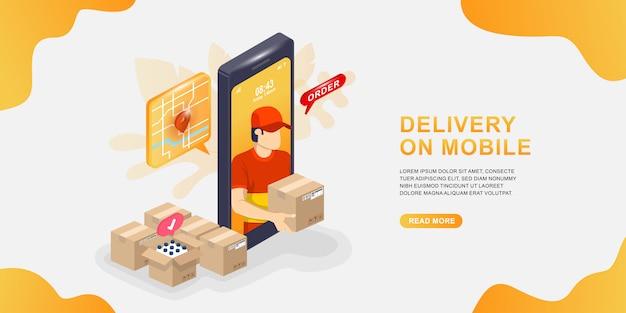 Online-lieferservice per smartphone. kurier trägt das paket.
