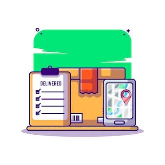 Online-lieferservice und sendungsverfolgung cartoon Premium Vektoren