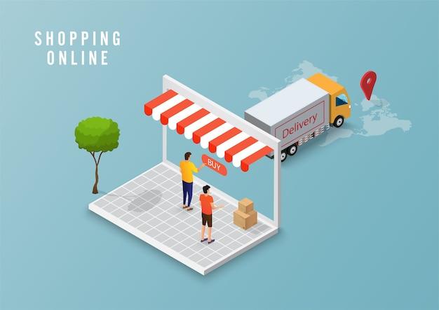 Online-lieferservicekonzept, online-auftragsverfolgung, logistiklieferung nach hause und büro am computer. vektorillustration