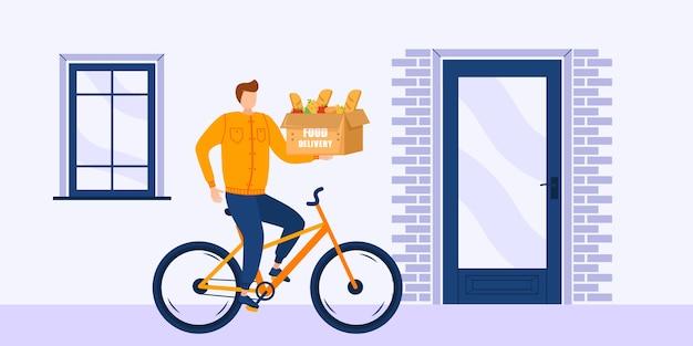 Online-lieferung nach hause service-konzept, online-auftragsverfolgung. charakter mann beschleunigt auf einem fahrrad durch die straßen der stadt mit einer lieferung von warmen speisen von restaurants nach hause. junge fahren einen roller mit box.