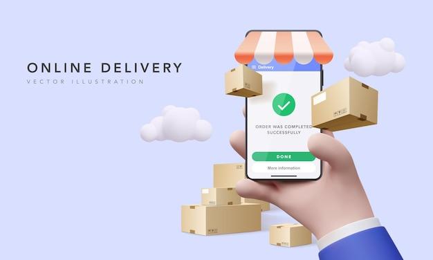 Online-lieferung über eine app auf dem mobilen bildschirm, um produkte zu bestellen und in die ganze welt zu versenden. konzeptioneller 3d-lieferservice für unternehmen. vektor-illustration