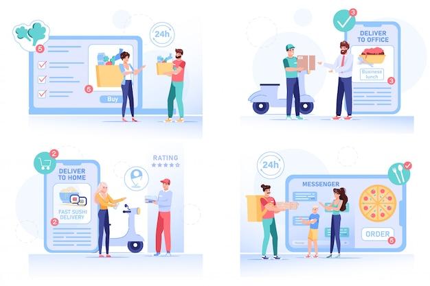 Online-lieferung von lebensmittelbestellungen nach hause oder ins büro