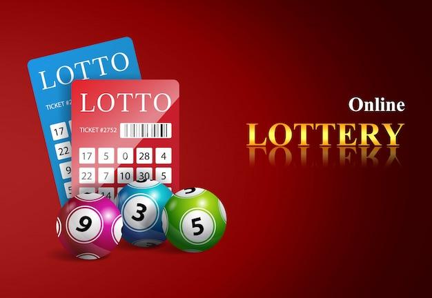 Online-lotterie-schriftzug, tickets und bälle. casino-business-werbung