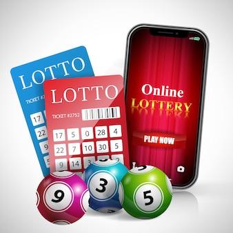 Online-lotterie spielen jetzt schriftzug auf smartphone-bildschirm, tickets und bälle.