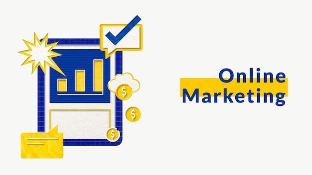 Online-marketing-geschäftsschablonenvektor mit balkendiagrammtafelgrafik