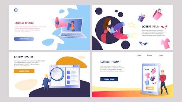 Online-marketing-set von farbvorlagen